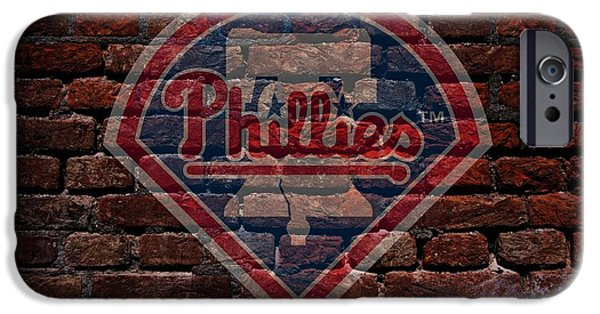 Shortstop iPhone Cases - Phillies Baseball Graffiti on Brick  iPhone Case by Movie Poster Prints