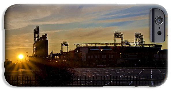 Philadelphia Phillies Stadium Digital iPhone Cases - Phillies Citizens Bank Park at Dawn iPhone Case by Bill Cannon