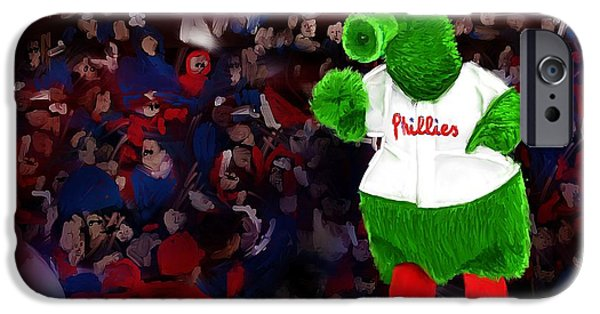 Philadelphia Phillies Stadium Digital iPhone Cases - Philly Phanatic iPhone Case by Randy Hulshizer