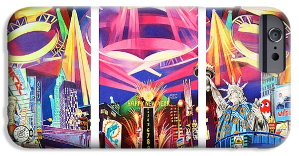 Times Square iPhone Cases - Phish New York for New Years Triptych iPhone Case by Joshua Morton