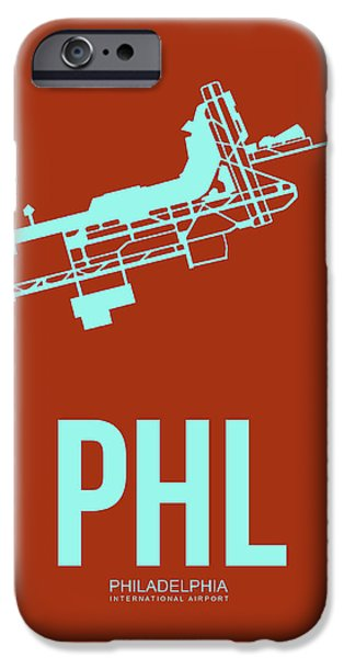 Town iPhone Cases - PHL Philadelphia Airport Poster 2 iPhone Case by Naxart Studio