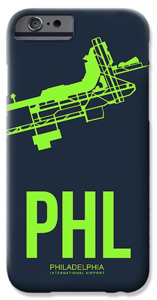 Town iPhone Cases - PHL Philadelphia Airport Poster 3 iPhone Case by Naxart Studio