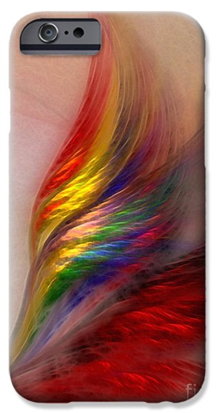 Lyrical iPhone Cases - Phoenix-Abstract Art iPhone Case by Karin Kuhlmann