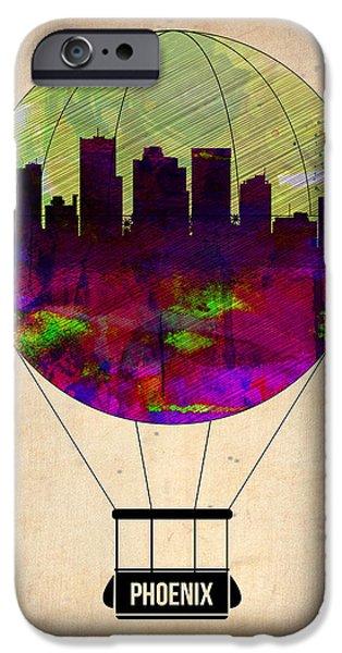 Town iPhone Cases - Phoenix Air Balloon  iPhone Case by Naxart Studio