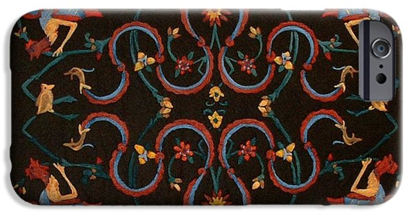 Needle Tapestries - Textiles iPhone Cases - Phoenix and Dragon iPhone Case by Bonnie Nash