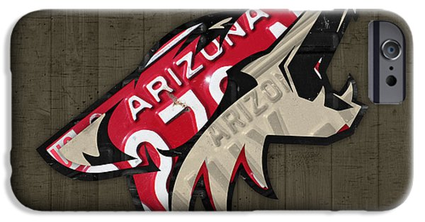 Coyote Art iPhone Cases - Phoenix Coyotes Retro Hockey Team Logo Recycled Arizona License Plate Art iPhone Case by Design Turnpike
