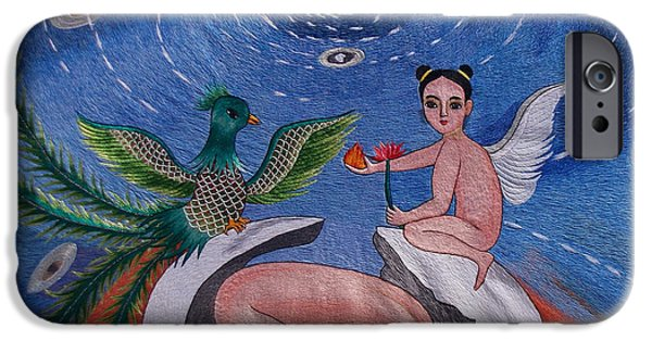 Nudes Tapestries - Textiles iPhone Cases - Phoenix hand embroidery iPhone Case by To-Tam Gerwe