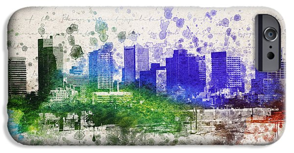 City Scape Mixed Media iPhone Cases - Phoenix in Color iPhone Case by Aged Pixel