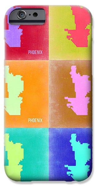 Phoenix iPhone Cases - Phoenix Pop Art Map 3 iPhone Case by Naxart Studio
