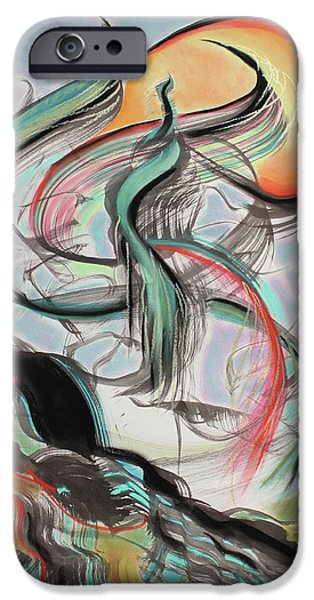 Abstract Expressionist Mixed Media iPhone Cases - Phoenix Rising iPhone Case by Asha Carolyn Young
