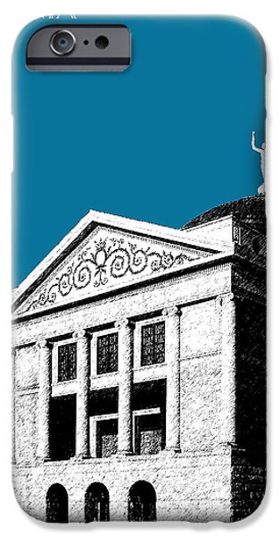 Pen And Ink iPhone Cases - Phoenix Skyline Arizona Capital Building - Steel Blue iPhone Case by DB Artist