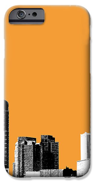 Pen And Ink iPhone Cases - Phoenix Skyline - Orange iPhone Case by DB Artist