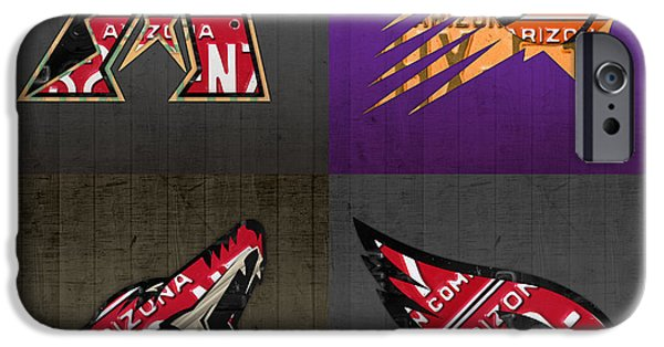 Coyote Art iPhone Cases - Phoenix Sports Fan Recycled Vintage Arizona License Plate Art Diamondbacks Suns Coyotes Cardinals iPhone Case by Design Turnpike