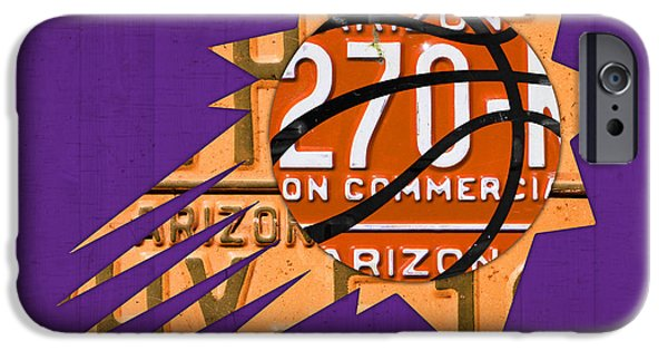 Basketball Team iPhone Cases - Phoenix Suns Basketball Team Retro Logo Vintage Recycled Arizona License Plate Art iPhone Case by Design Turnpike