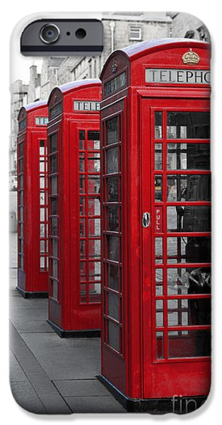Town iPhone Cases - Phone boxes on the Royal Mile iPhone Case by Jane Rix