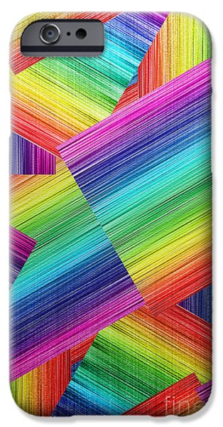 Concept Digital Art iPhone Cases - Phone Case Rainbow Abstract 5 iPhone Case by Gabriele Pomykaj