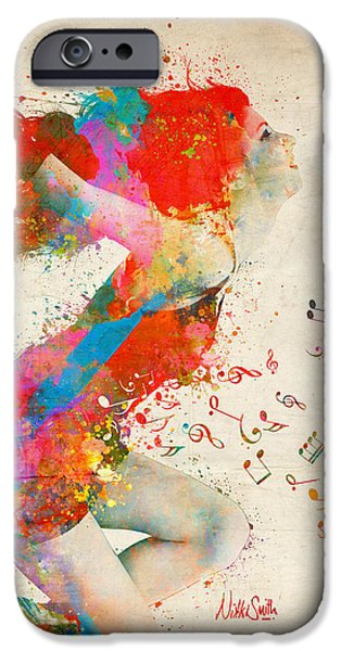 Iphone Art iPhone Cases - Phone Case Sweet Jenny Bursting with Music iPhone Case by Nikki Marie Smith