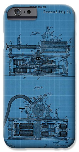 Technology Drawings iPhone Cases - Phonograph Blueprint Patent Drawing iPhone Case by Dan Sproul