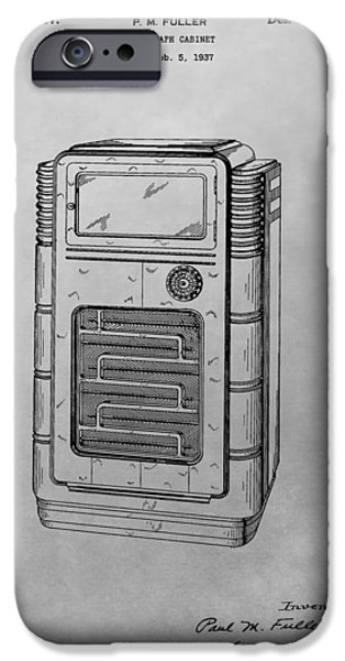 Technology Drawings iPhone Cases - Phonograph Cabinet Patent Drawing iPhone Case by Dan Sproul