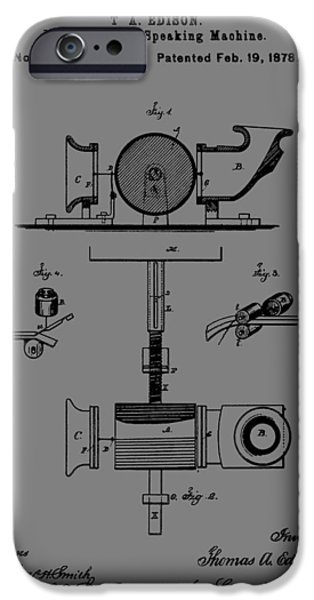 Thomas Alva Edison iPhone Cases - Phonograph Patent iPhone Case by Dan Sproul
