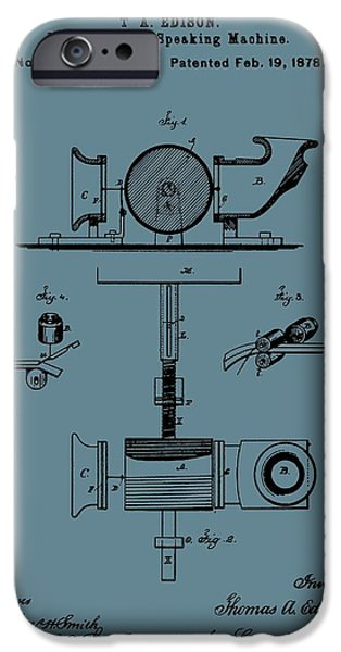 Thomas Alva Edison iPhone Cases - Phonograph Patent On Blue iPhone Case by Dan Sproul