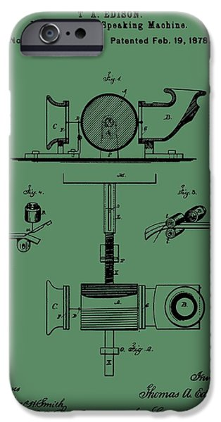 Thomas Alva Edison iPhone Cases - Phonograph Patent On Green iPhone Case by Dan Sproul
