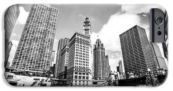 Wrigley iPhone Cases - Photo of Chicago Downtown River Buildings iPhone Case by Paul Velgos