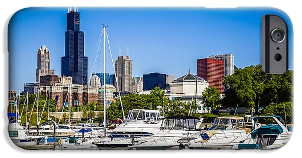 Sears Tower iPhone Cases - Photo of Chicago Skyline with Burnham Harbor iPhone Case by Paul Velgos