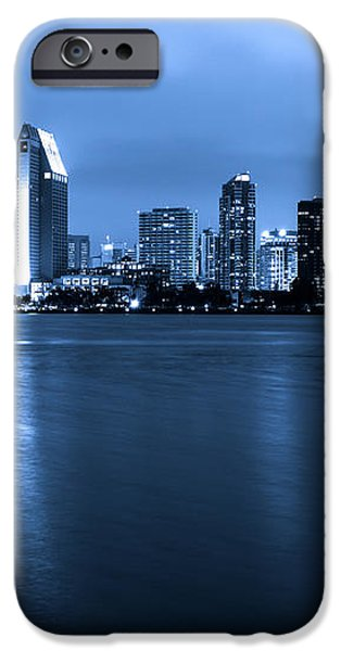 Photo of San Diego at Night Skyline Buildings iPhone Case by Paul Velgos