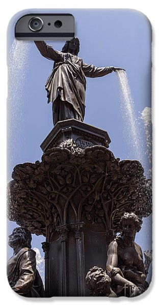 2012 iPhone Cases - Photo of Tyler Davidson Fountain in Cincinnati Ohio iPhone Case by Paul Velgos