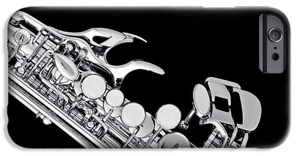 Sopranos iPhone Cases - Photograph of a Soprano Saxophone in Sepia 3342.01 iPhone Case by M K  Miller