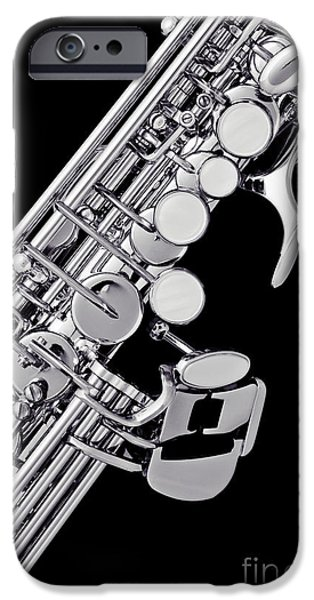 Soprano iPhone Cases - Photograph of a Soprano Saxophone Sepia 3355.01 iPhone Case by M K  Miller