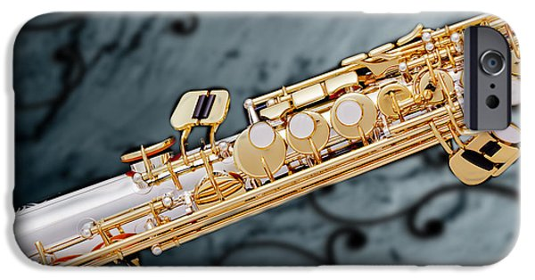 Soprano iPhone Cases - Photograph of Classic Soprano Saxophone 3349.02 iPhone Case by M K  Miller