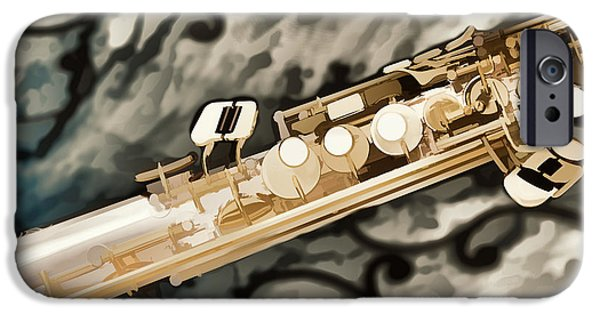 Soprano iPhone Cases - Photograph of Classic Soprano Saxophone painting 3348.02 iPhone Case by M K  Miller