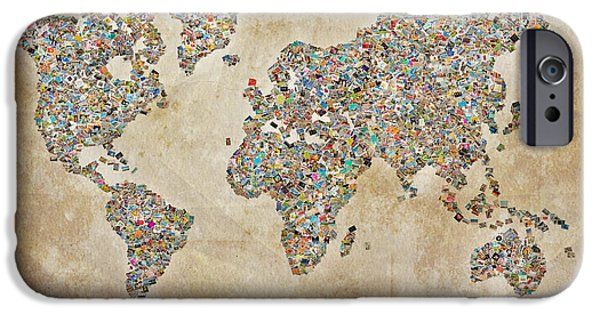 Different Worlds iPhone Cases - Photographer World map iPhone Case by Delphimages Photo Creations