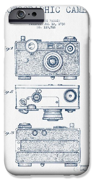 Camera iPhone Cases - Photographic Camera Patent Drawing from 1938- Blue Ink iPhone Case by Aged Pixel