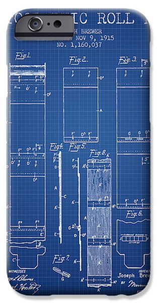 Film iPhone Cases - Photographic roll film patent from 1915 - Blueprint iPhone Case by Aged Pixel