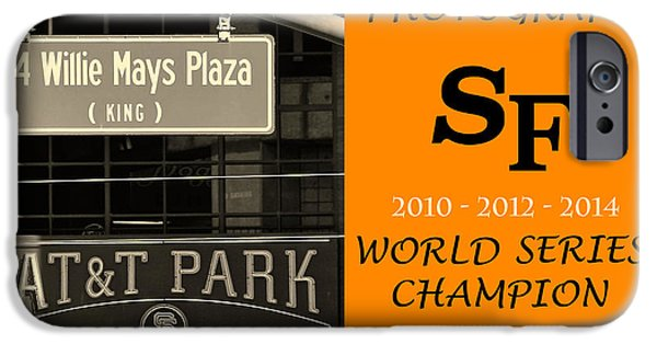 Sports Pyrography iPhone Cases - Photographs SF Giants iPhone Case by DUG Harpster