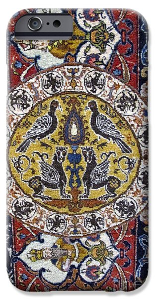 Persian Carpet iPhone Cases - Photos of Persian Antique Rugs Kilims Carpets brid and lion with wings iPhone Case by Persian Art