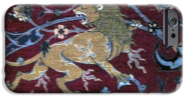 Persian Carpet iPhone Cases - Photos of Persian Antique Rugs Kilims Carpets Lion iPhone Case by Persian Art