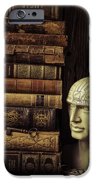 Personalities Photographs iPhone Cases - Phrenology Head And Old Books iPhone Case by Garry Gay