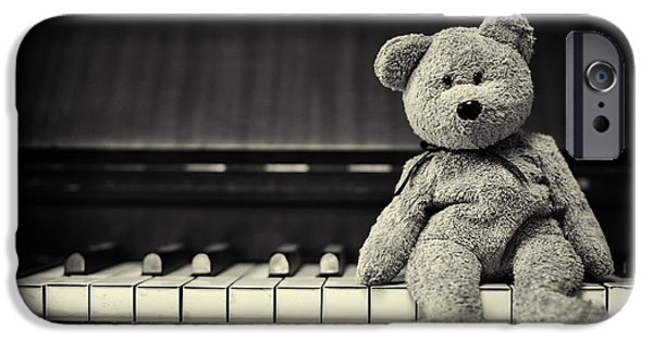 Innocence iPhone Cases - Piano Bear iPhone Case by Tim Gainey