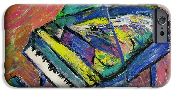 Grand Piano Paintings iPhone Cases - Piano Blue iPhone Case by Anita Burgermeister