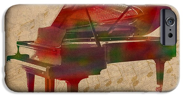 Sheets iPhone Cases - Piano Instrument Watercolor Portrait With Sheet Music Background On Worn Canvas iPhone Case by Design Turnpike