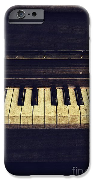 Black Pyrography iPhone Cases - Piano iPhone Case by Jelena Jovanovic