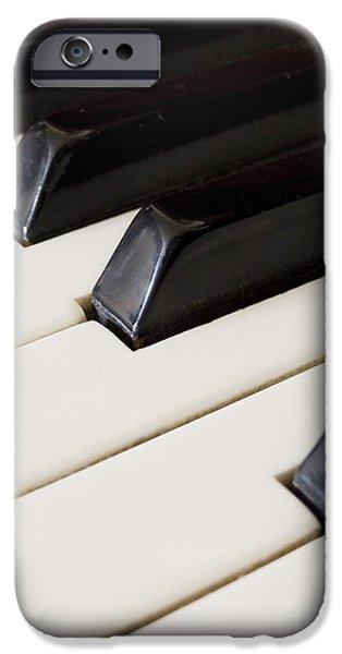 Black Pyrography iPhone Cases - Piano keys iPhone Case by Jelena Jovanovic