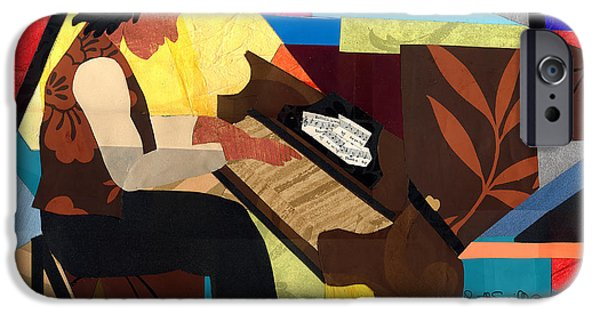 Lino Cut iPhone Cases - Piano Man 2012 iPhone Case by Everett Spruill