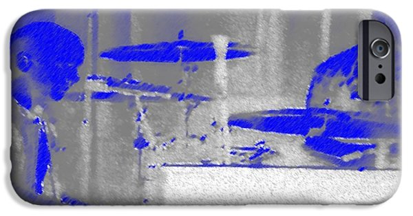 Piano Pastels iPhone Cases - Piano Player in Pastel Blue iPhone Case by George Pedro
