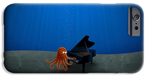 Abstract Digital iPhone Cases - Piano Playing Octopus iPhone Case by Gianfranco Weiss