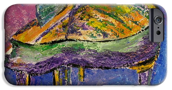 Grand Piano Paintings iPhone Cases - Piano Purple iPhone Case by Anita Burgermeister